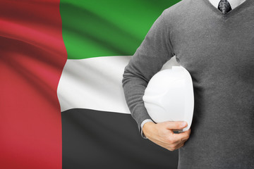 Architect with flag on background  - United Arab Emirates
