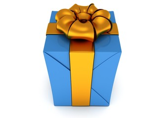 Gift box with gold ribbon bow