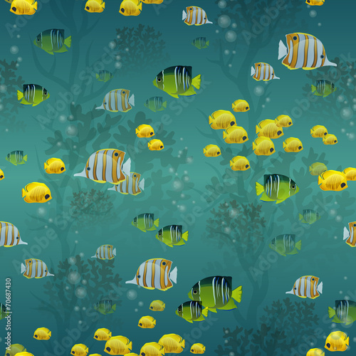 Deurstickers Duiken Fish seamless pattern