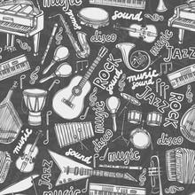 Instruments de musique seamless croquis