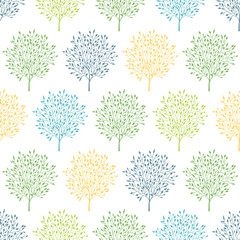 Summer trees colorful seamless pattern background