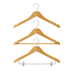 Clothes wooden hangers