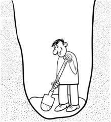 digging man cartoon coloring page