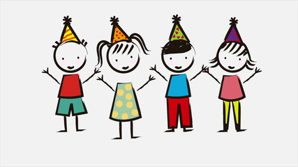 Happy birthday animation of happy children