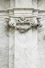 Lesena, dettaglio capitello ionico e volute, architettura