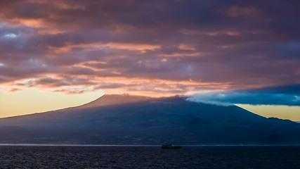 Purple early light at sunrise over Pico volcano
