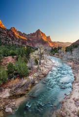 The watchman iconic scene sunset, Zion National Park, Utah