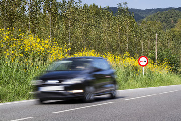 A car passing quickly in front of a road traffic sign