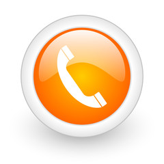 phone orange glossy web icon on white background.