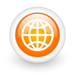 earth orange glossy web icon on white background.