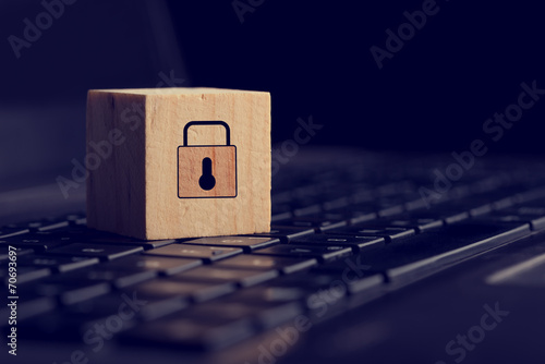 Block with Lock Graphic on Computer Keyboard - 70693697