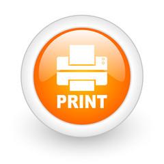 printer orange glossy web icon on white background.