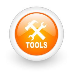 tools orange glossy web icon on white background.