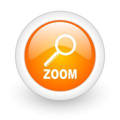 zoom orange glossy web icon on white background.