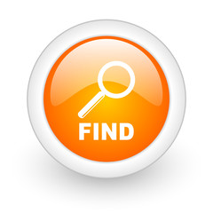 find orange glossy web icon on white background.
