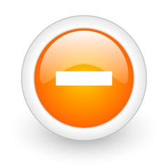 minus orange glossy web icon on white background.