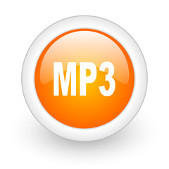 mp3 orange glossy web icon on white background.