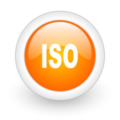iso orange glossy web icon on white background.