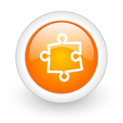 puzzle orange glossy web icon on white background.