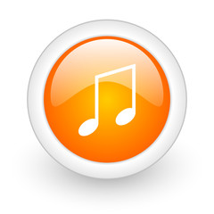 music orange glossy web icon on white background.
