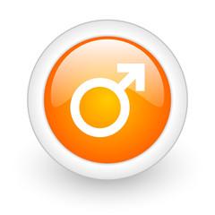 male orange glossy web icon on white background.