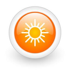 sun orange glossy web icon on white background.