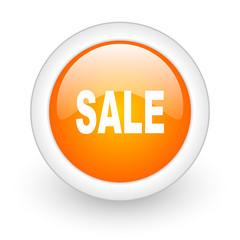sale orange glossy web icon on white background.