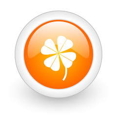 four-leaf clover orange glossy web icon on white background.
