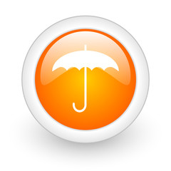 umbrella orange glossy web icon on white background.