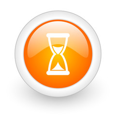 time orange glossy web icon on white background.