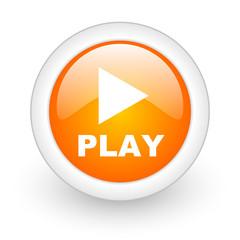 play orange glossy web icon on white background.