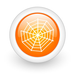 spider web orange glossy web icon on white background