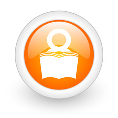 book orange glossy web icon on white background.