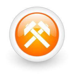 mining orange glossy web icon on white background.