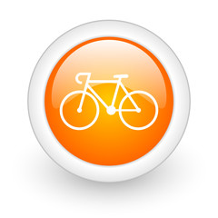 bicycle orange glossy web icon on white background.