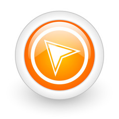 navigation orange glossy web icon on white background.