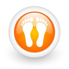 foot orange glossy web icon on white background.