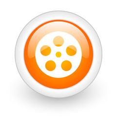 film orange glossy web icon on white background.