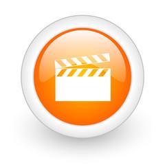 video orange glossy web icon on white background.