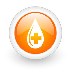 blood orange glossy web icon on white background.