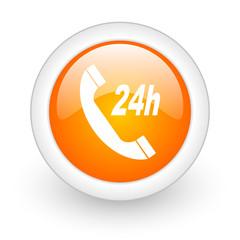 service orange glossy web icon on white background.