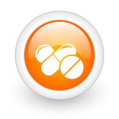 medicine orange glossy web icon on white background.