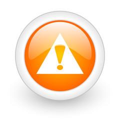 exclamation sign orange glossy web icon on white background.