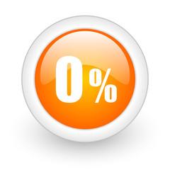 0 percent orange glossy web icon on white background.