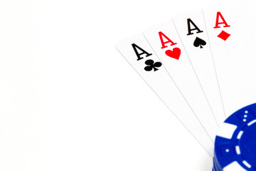Poker chip and cards isolated on white background