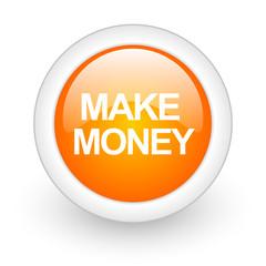 make money orange glossy web icon on white background.