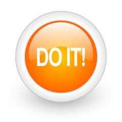 do it orange glossy web icon on white background.
