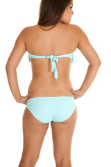 back swim wear teal looking side