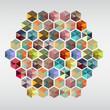 geometric hexagon gem pieces.