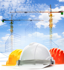 safety helmet against sketching of building construction with li